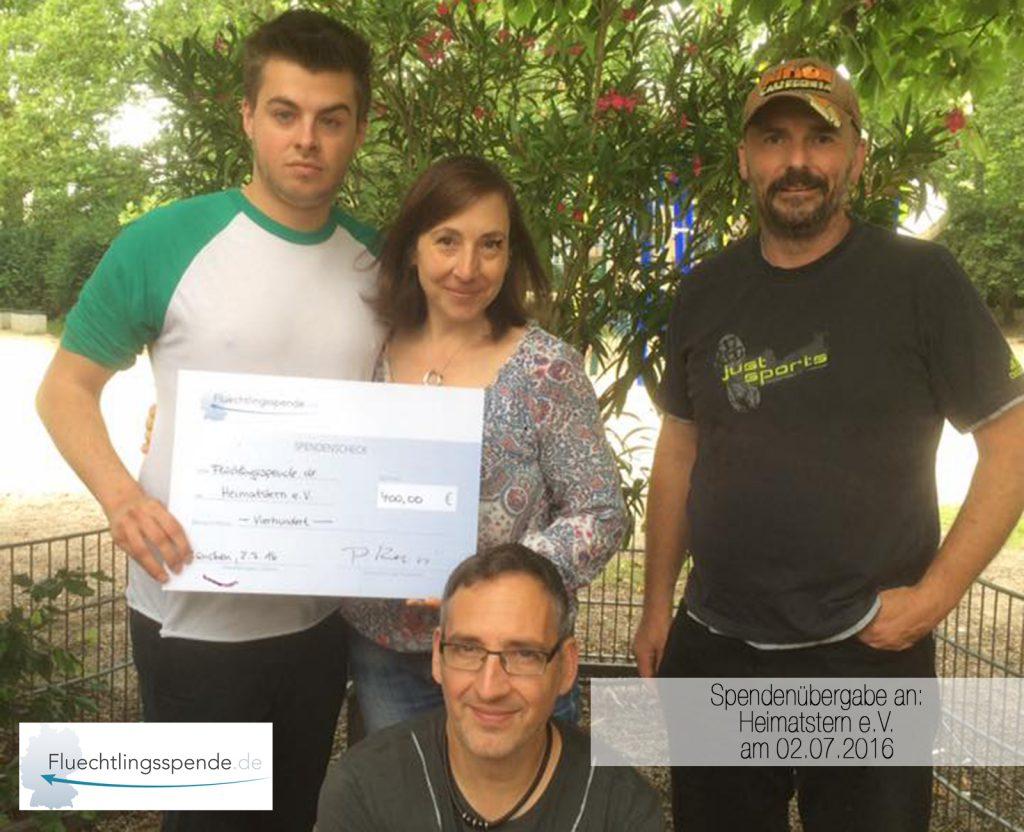 Spendenübergabe an Heimatstern e.V. am 02.07.2016
